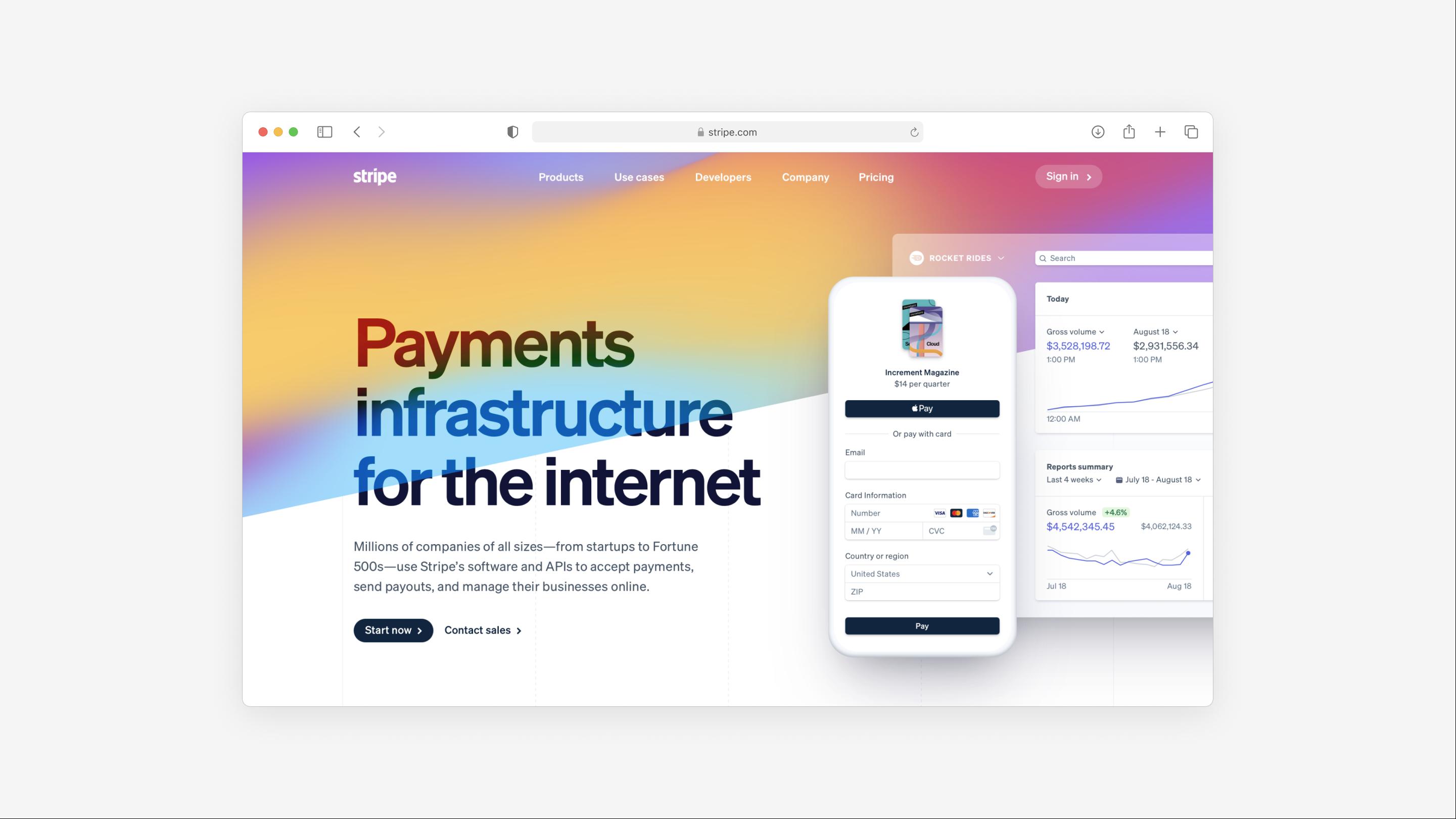 the website for Stripe is a straightforward B2B website