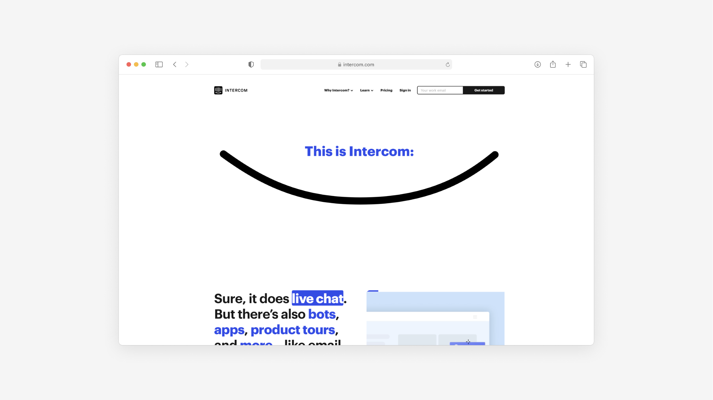 the website for Intercom continues to be a benchmark for good B2B websites