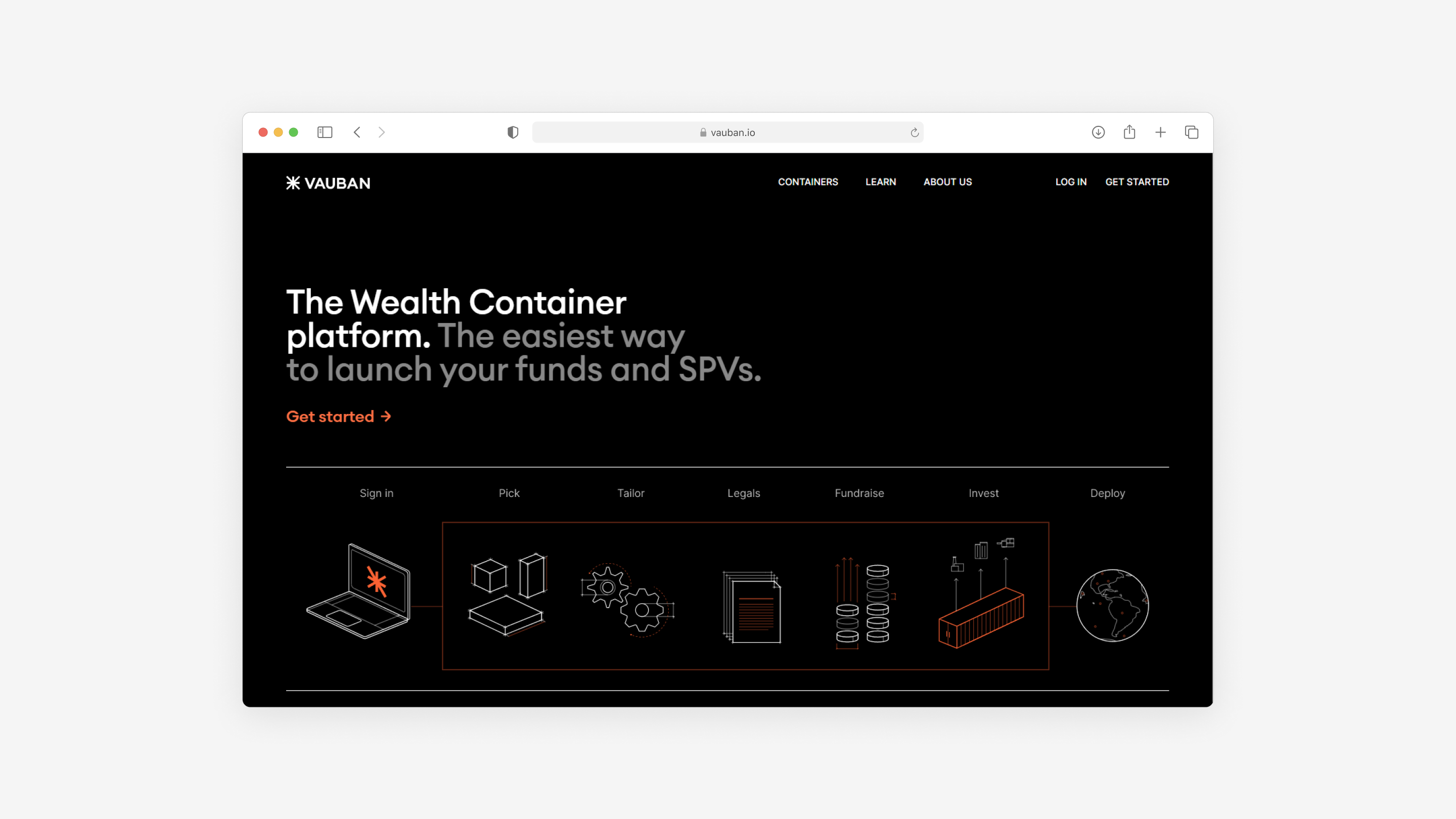 the website for Vauban made by Embacy