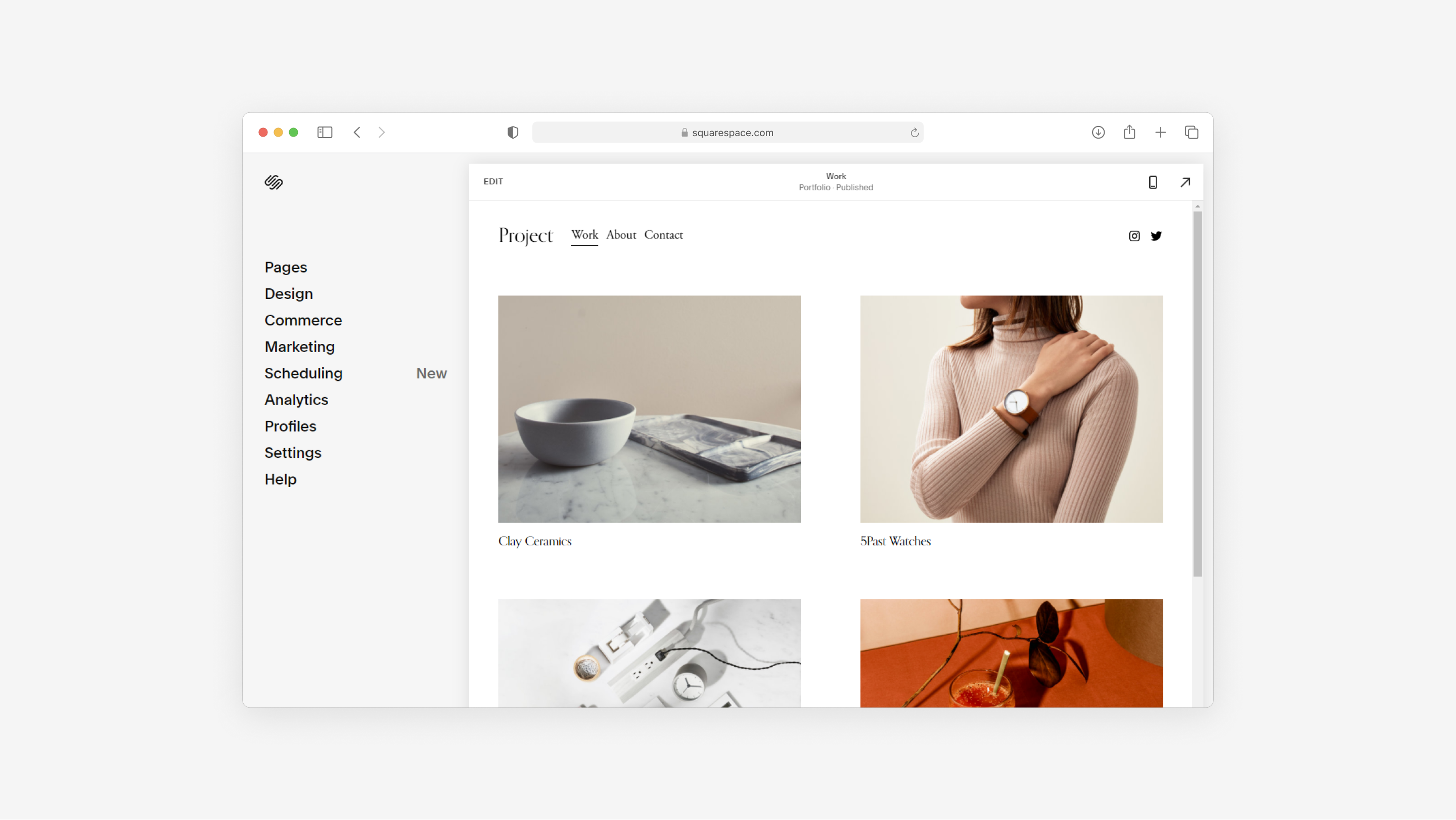 squarespace, a good example of an all-in-one website builder