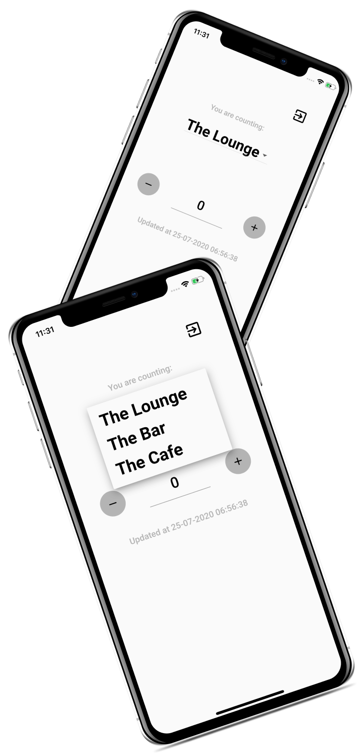 Screenshots of the Mobile Counter app.