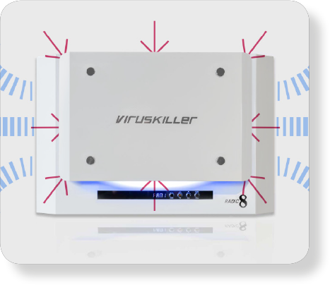 Image of the VK401 product, a white box with arrows pointing towards it