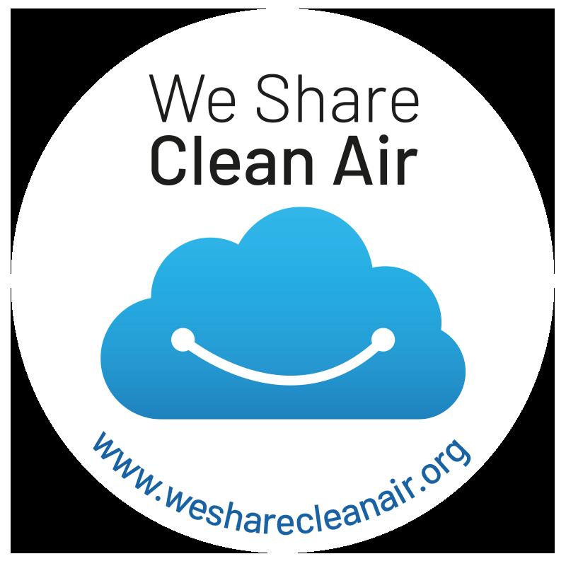 Cute we share clean air logo