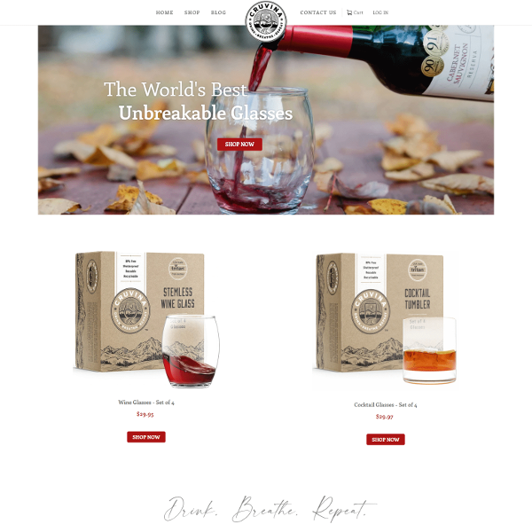 Screenshot of Cruvina webpage