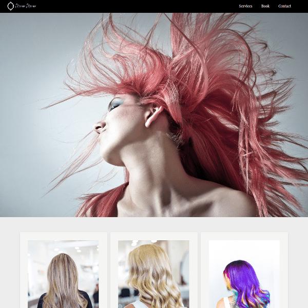 Screenshot of Mirror Mirror Salon webpage