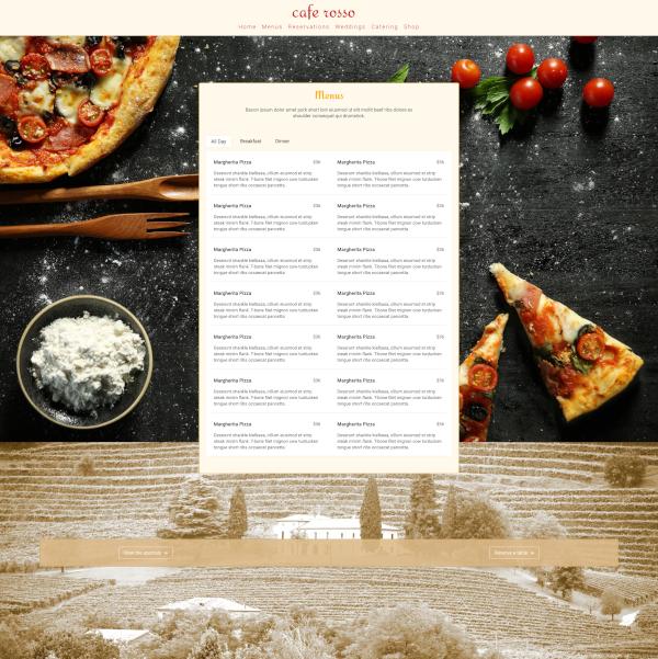 Screen shot of Cafe Rosso Menu