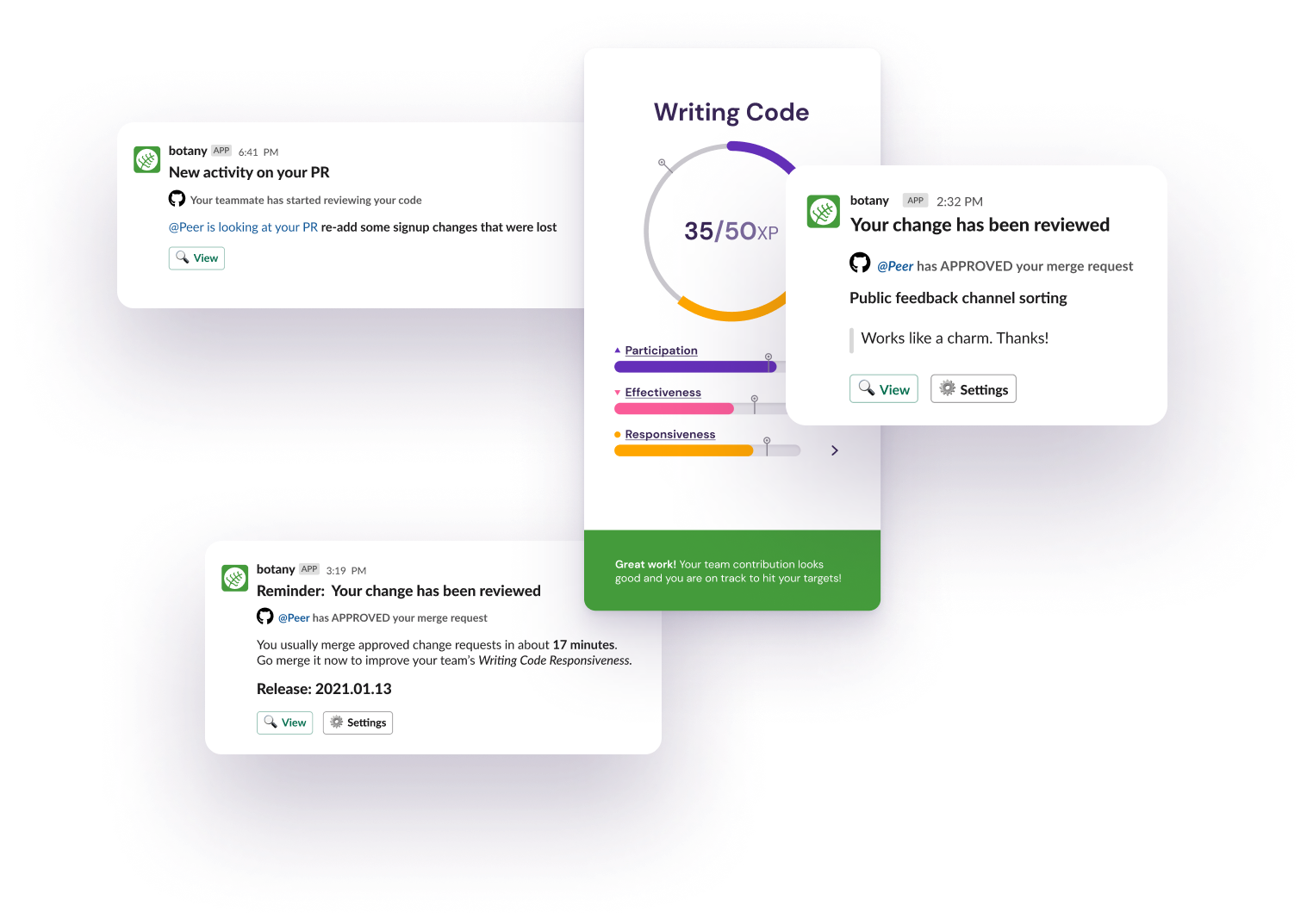 Botany code writing nudges and growth card