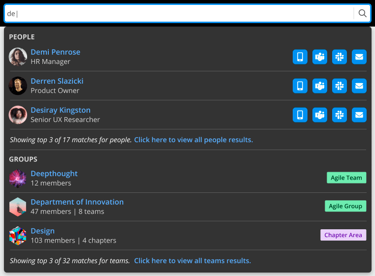 Team Directory Search feature