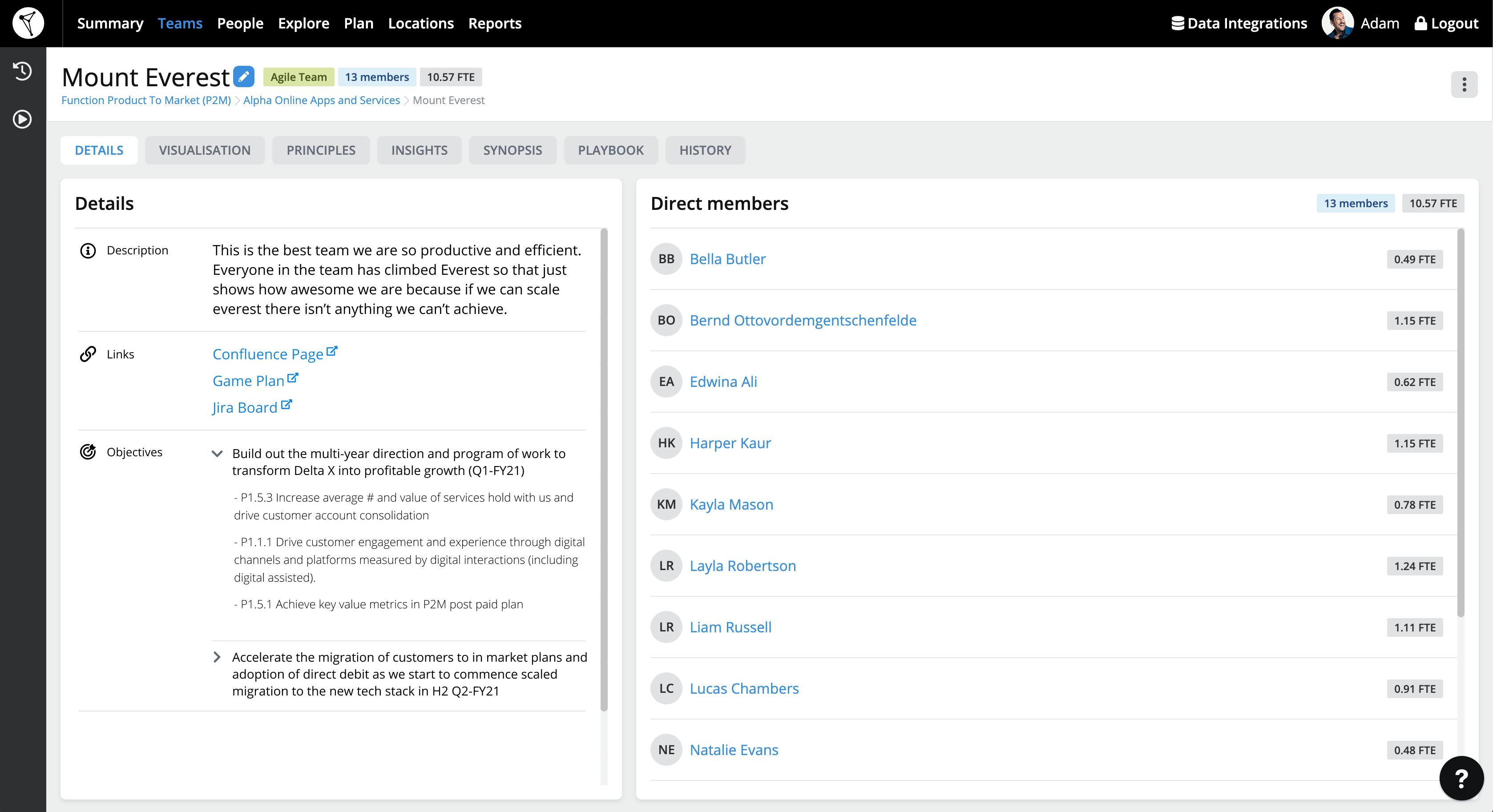 TeamForm screen showing team members