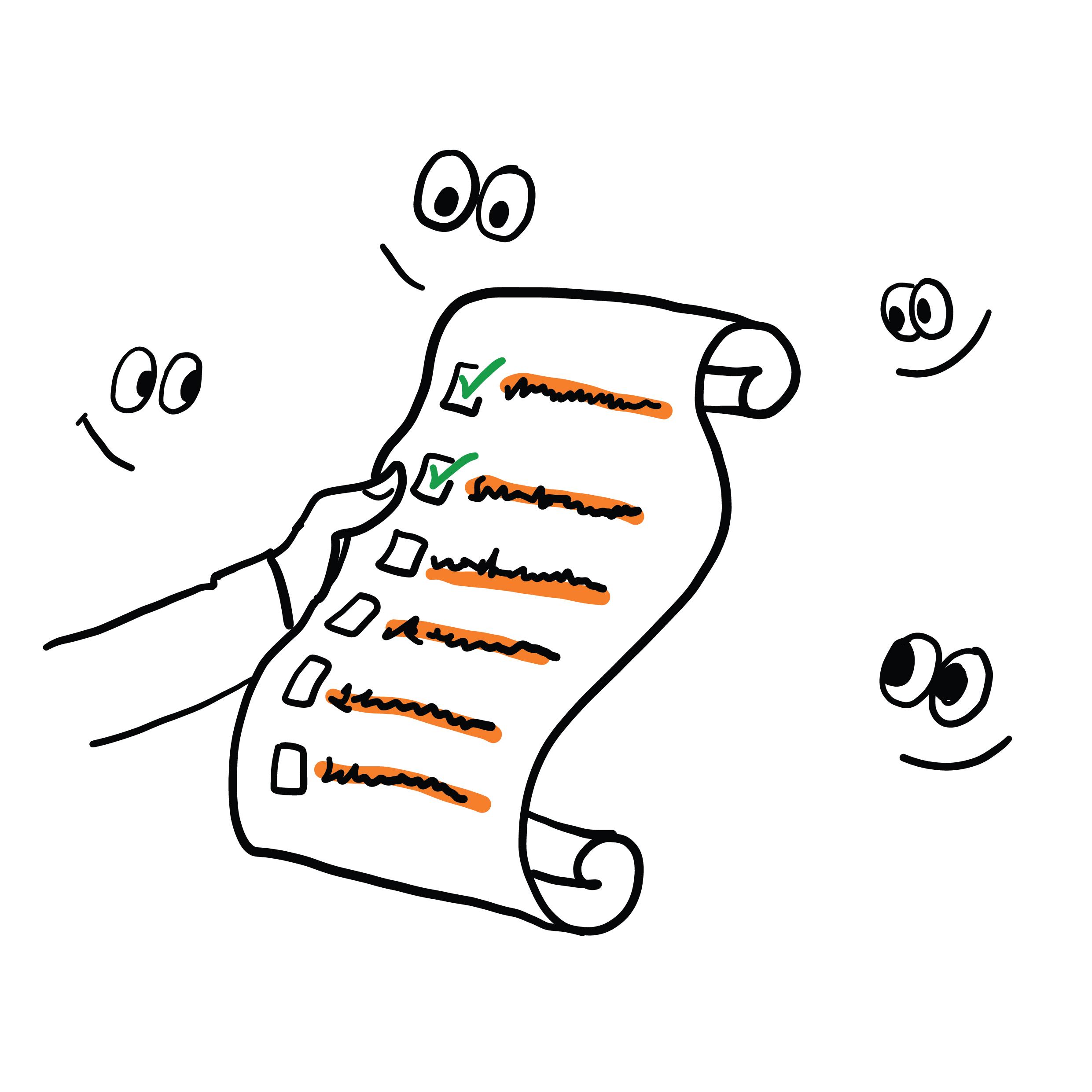 Illustrasjon: Hånd holder liste med øyne rundt