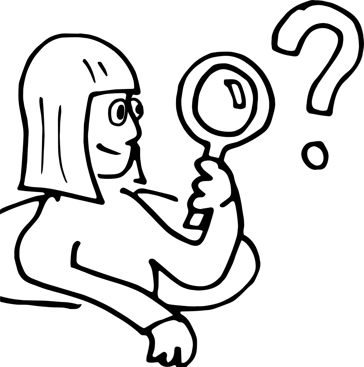 Illustrasjon: Jente med forstørrelsesglass