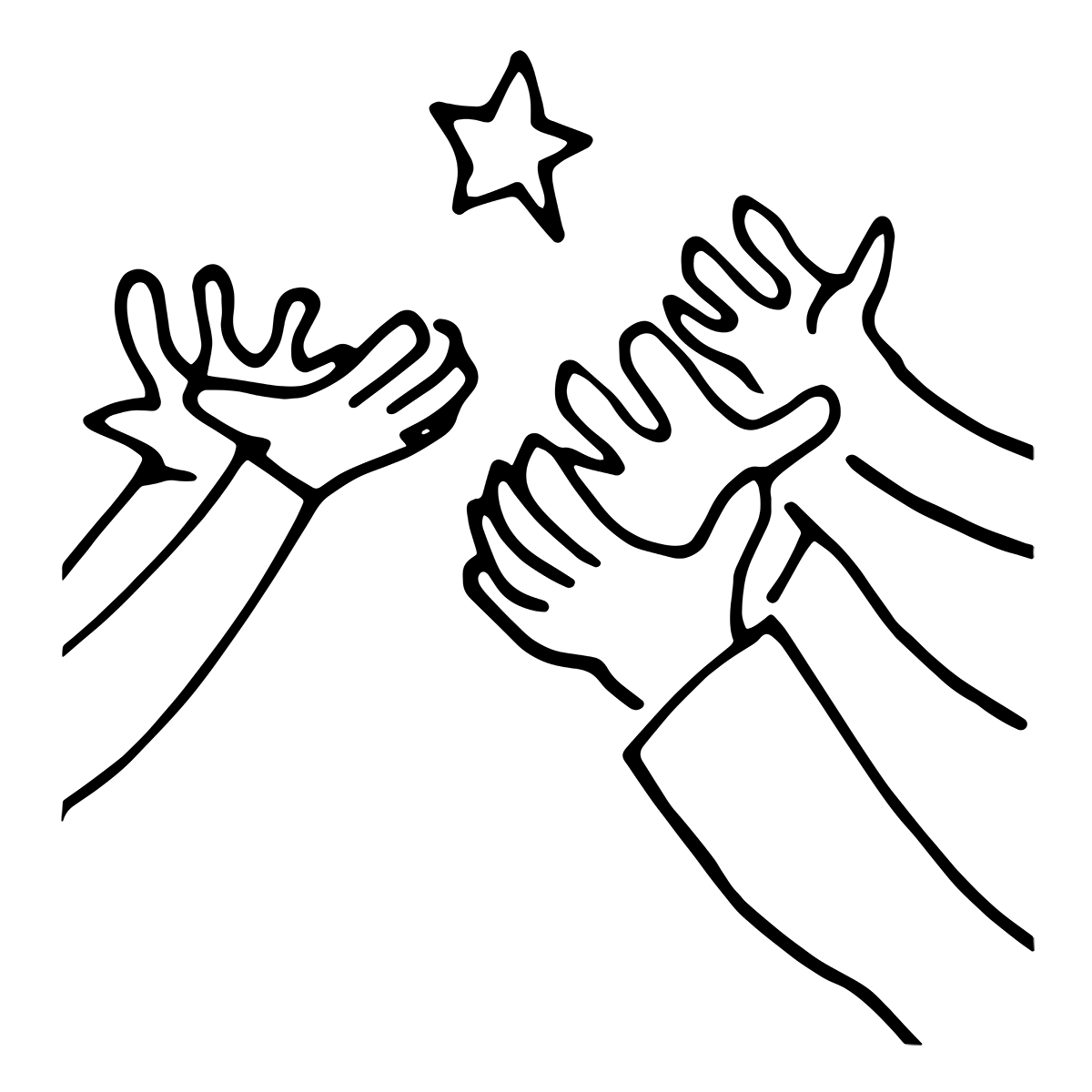 Illustrasjon: Hender under en stjerne