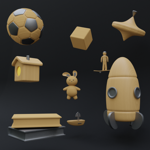 30+ 3D icons of objects with a wood texture