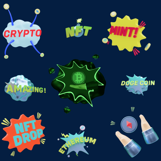 20+ crypto themed 3D icons in comic style