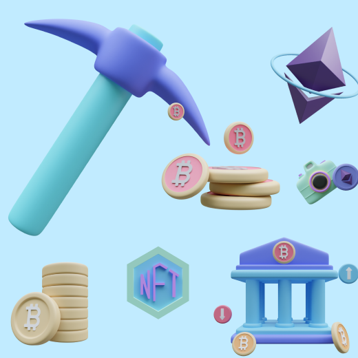 50+ Cryptocurrency 3D icons in pastel colors