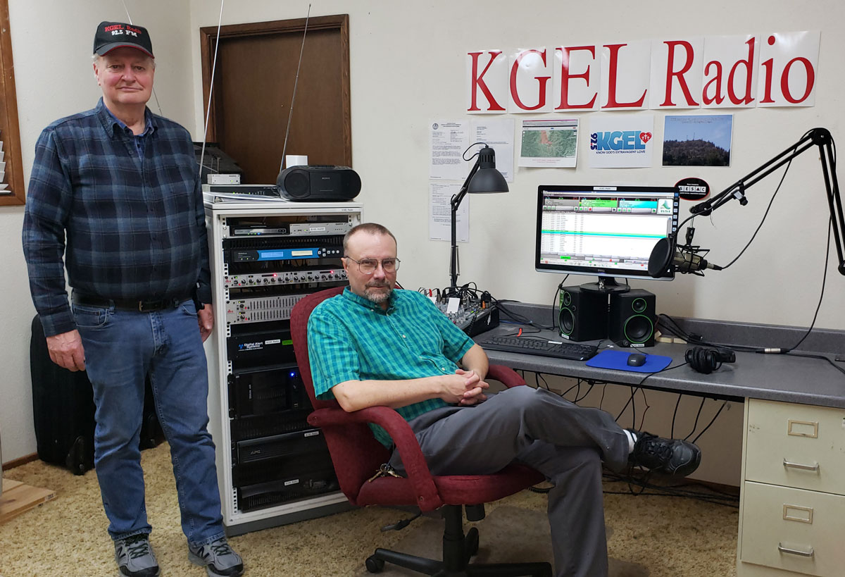 Dennis Painter and Bob Steingas in the KGEL Radio studio