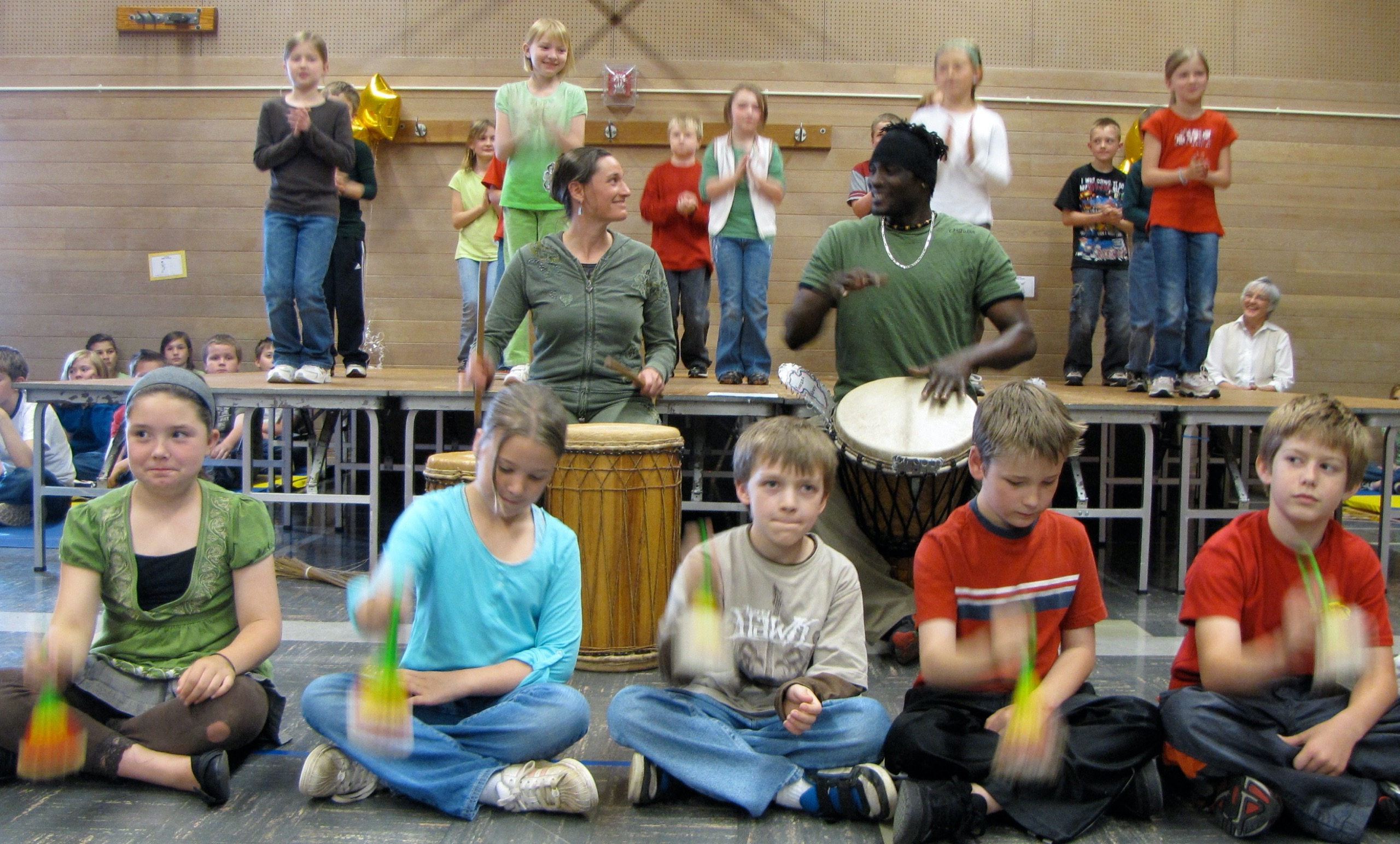 Drumming class at school in Eugene taught by West African Cultural Arts Institute