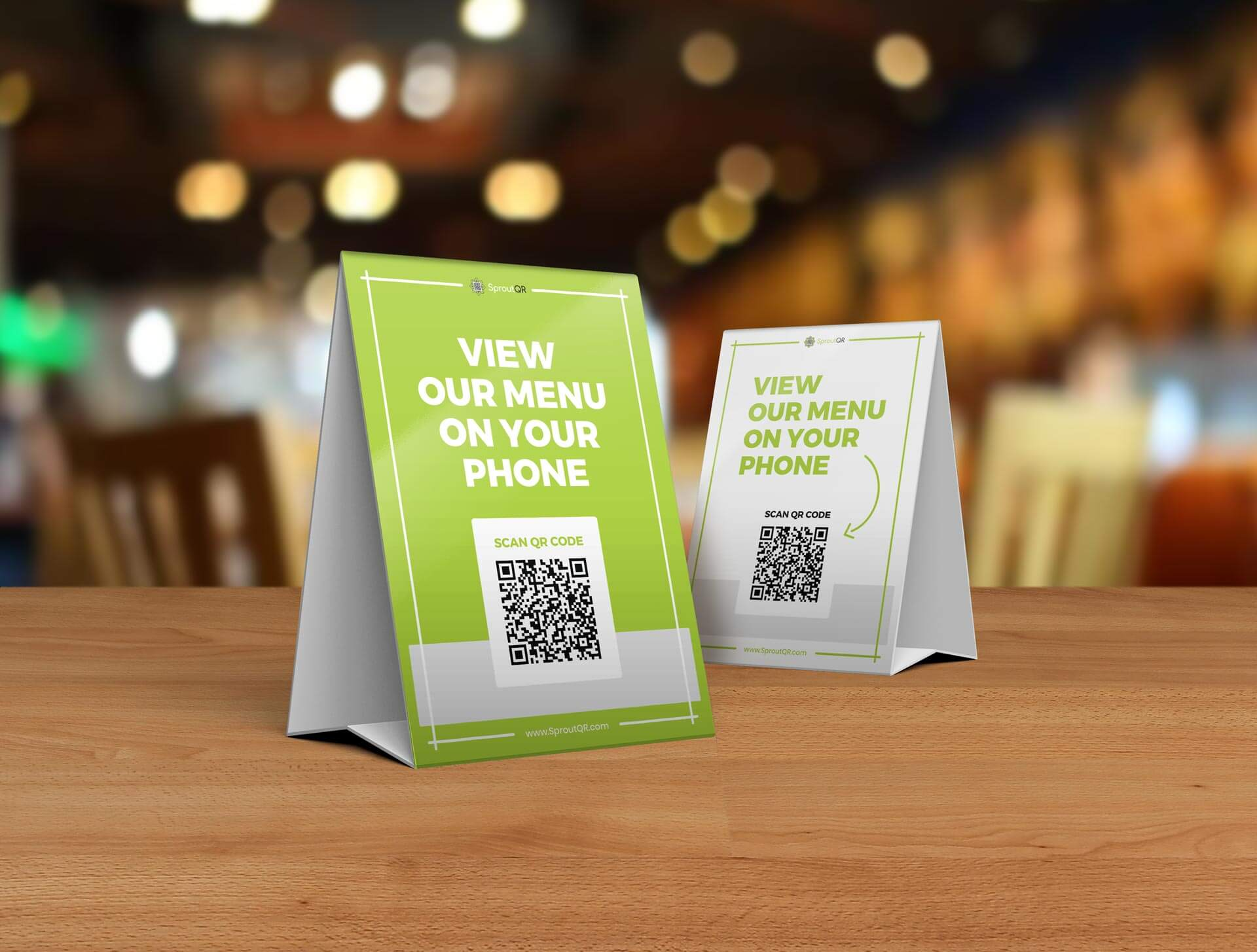 QR code on table tent in a restaurant
