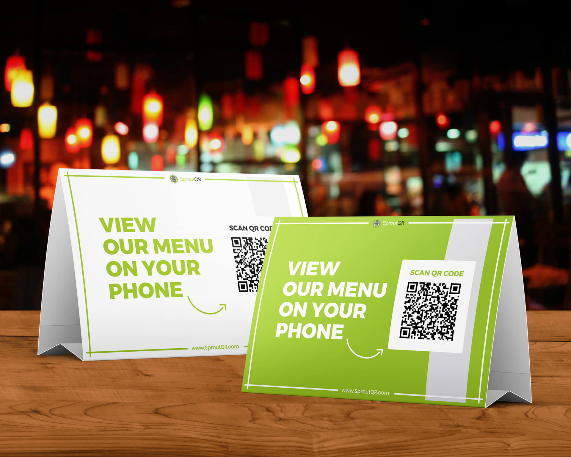 QR code on table tent in a bar