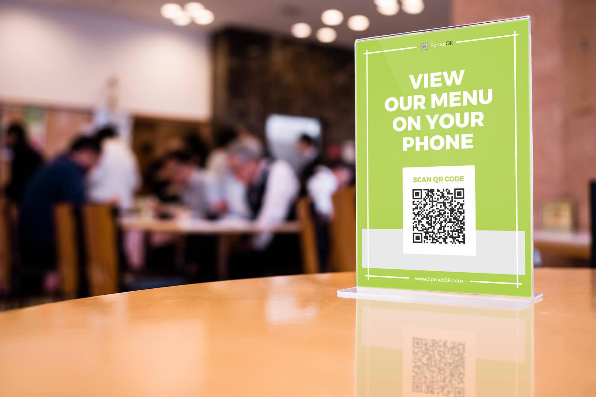 QR code on tabletop displayette