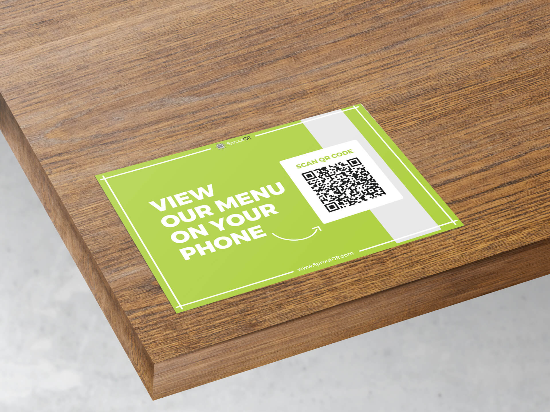 QR code on table directly