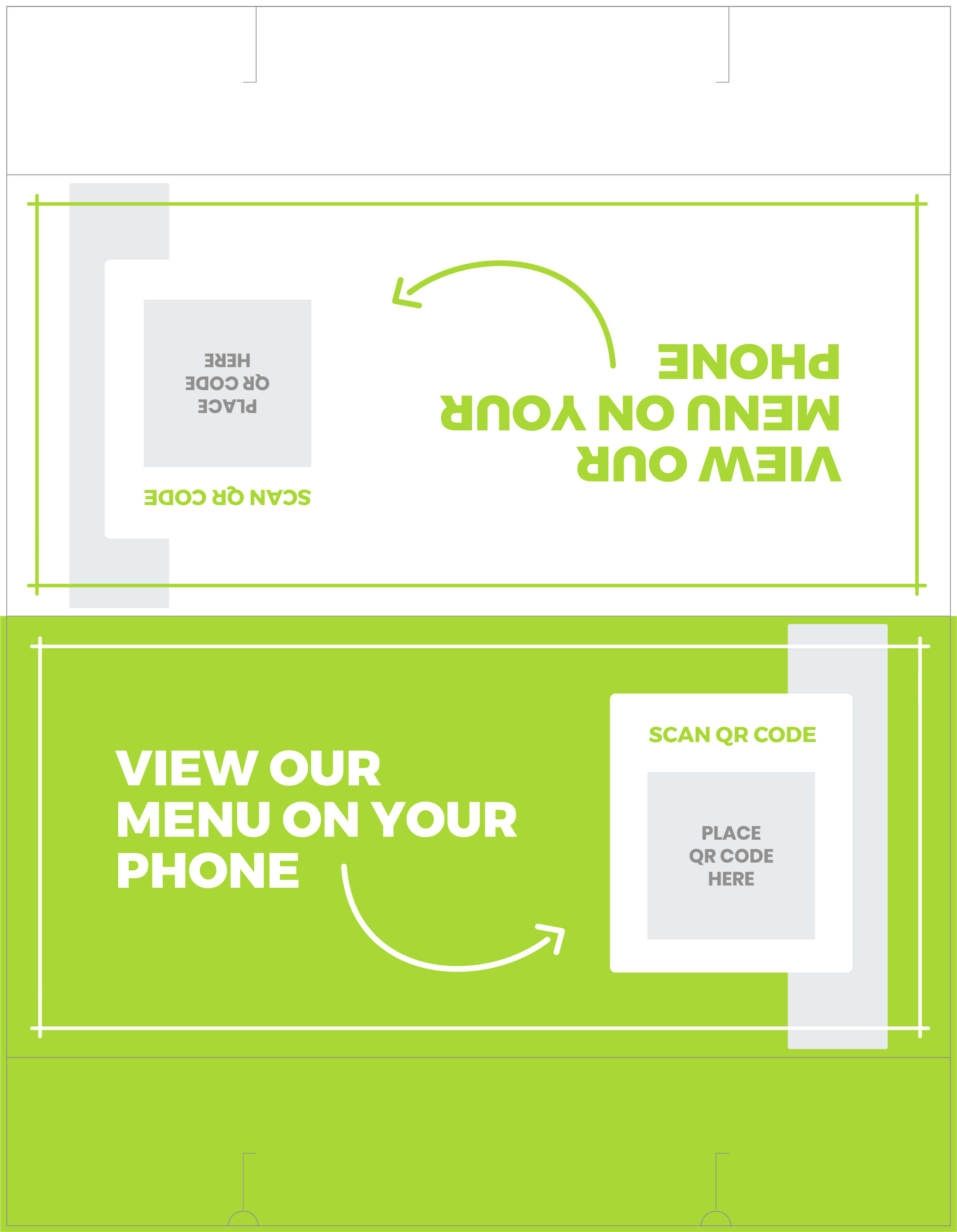 Free QR code on table tent template
