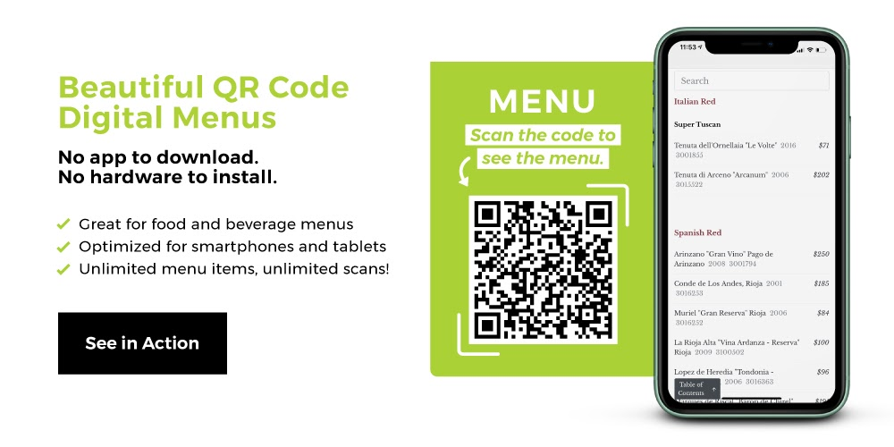 restaurant menu bar codes