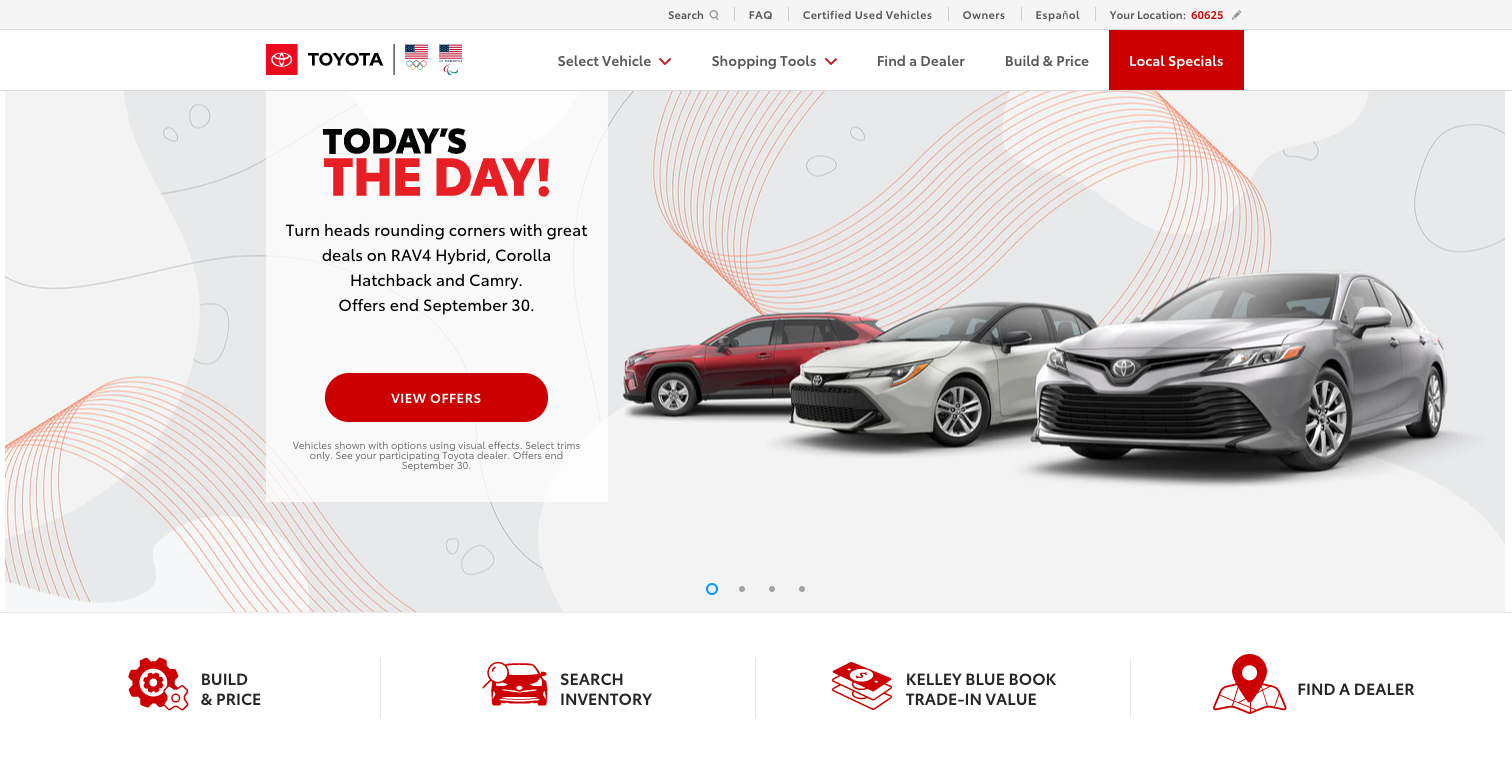 Toyota ADA compliant website example