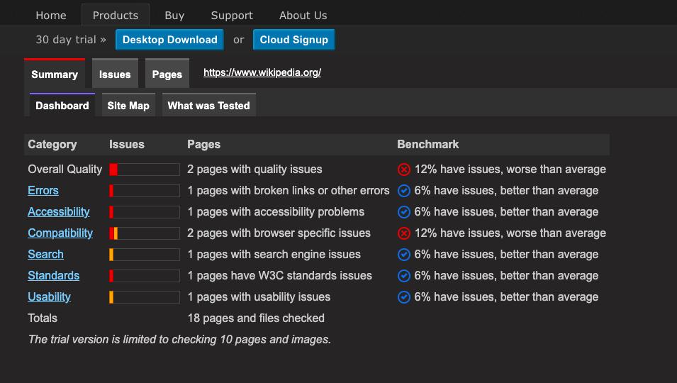SortSite website accessibility checker