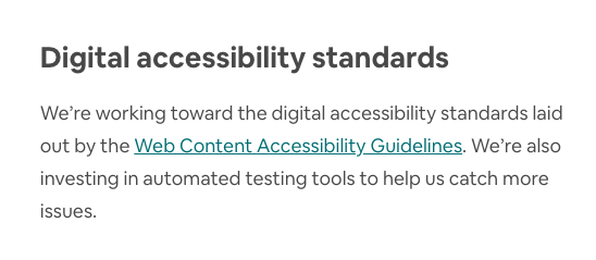 Short web accessibility statement