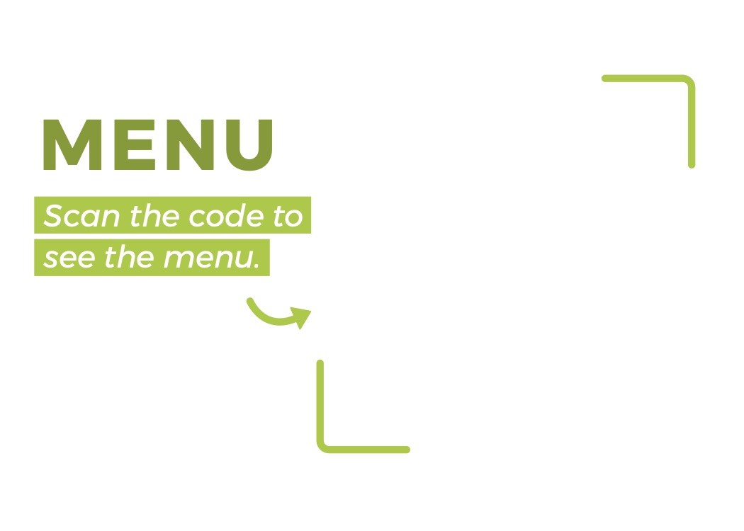 Horizontal QR code menu template with text