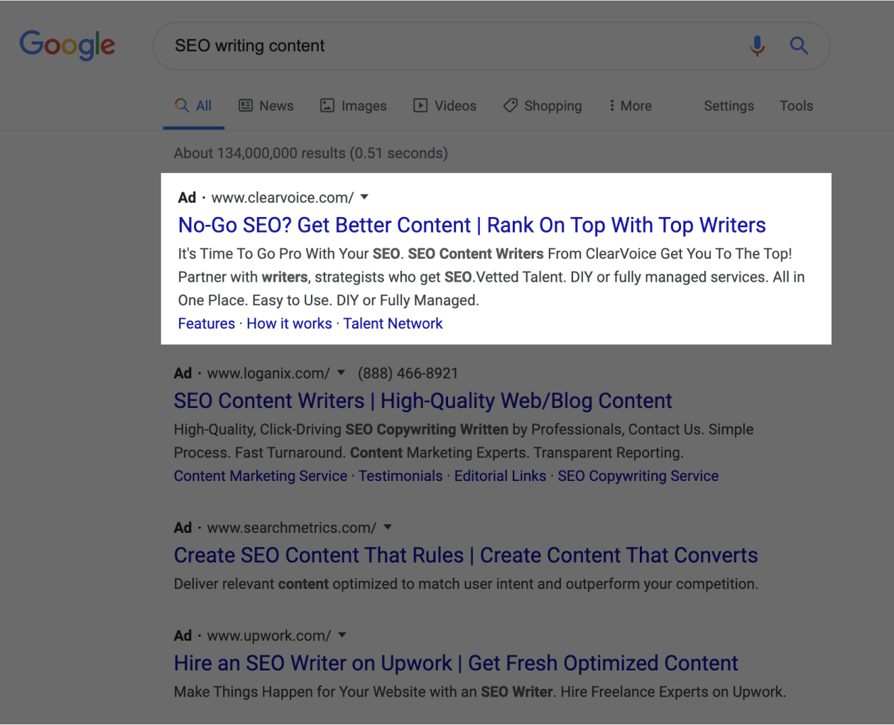 Google search screenshot with content writing service highlighted.