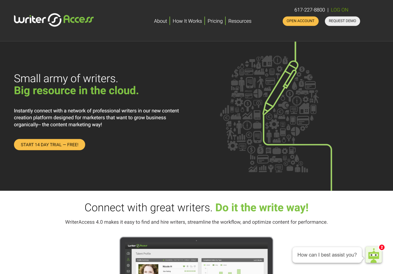 The homepage for WriterAccess, the 3rd top TextBroker competitor.