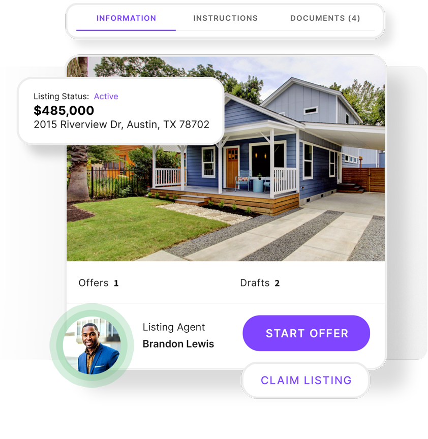 Product example of the offer portal showing a property that is active with options to start the offer or claim the listing.