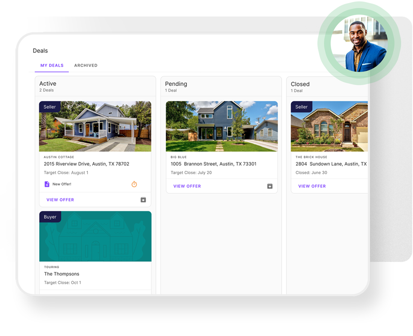 Product showing the main dashboard where users can keep track of their deals. There are three columns (Active, Pending, Closed) with each containing deals.