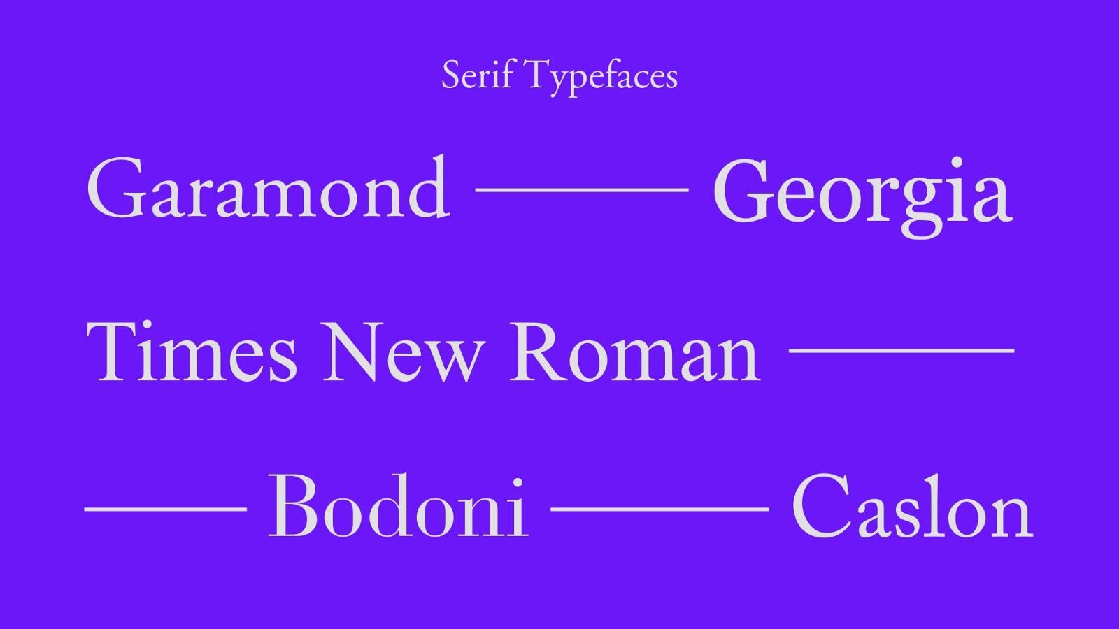 Top 5 serif typefaces