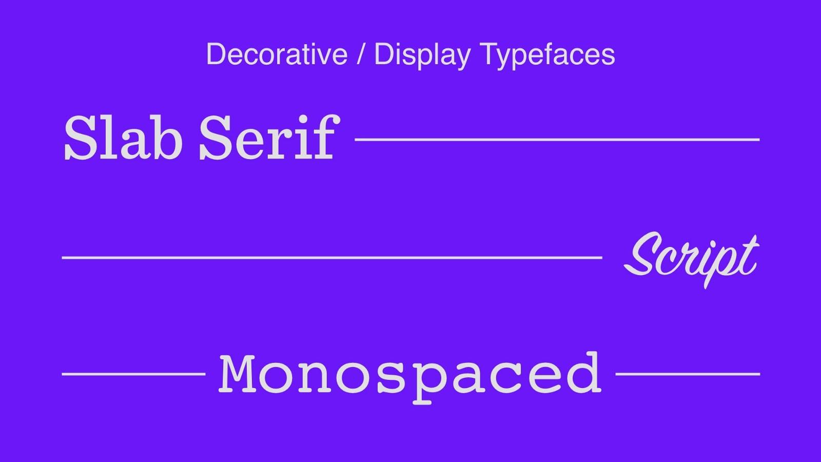 Decorative / display typefaces