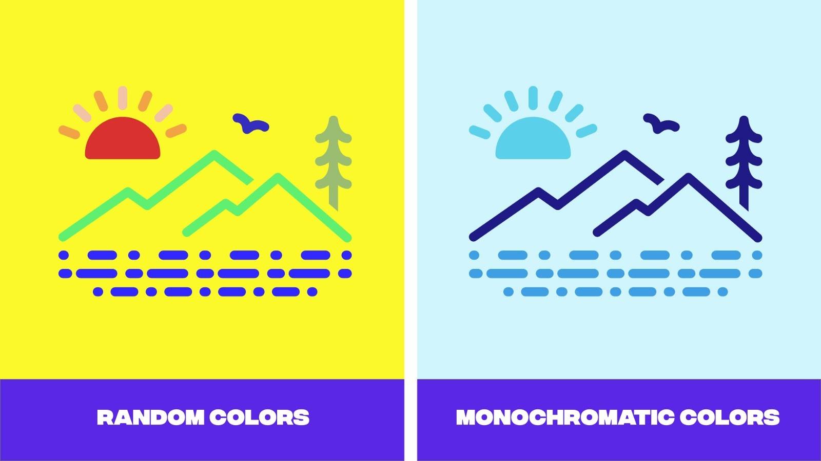 Random color palette vs a monochromatic color palette