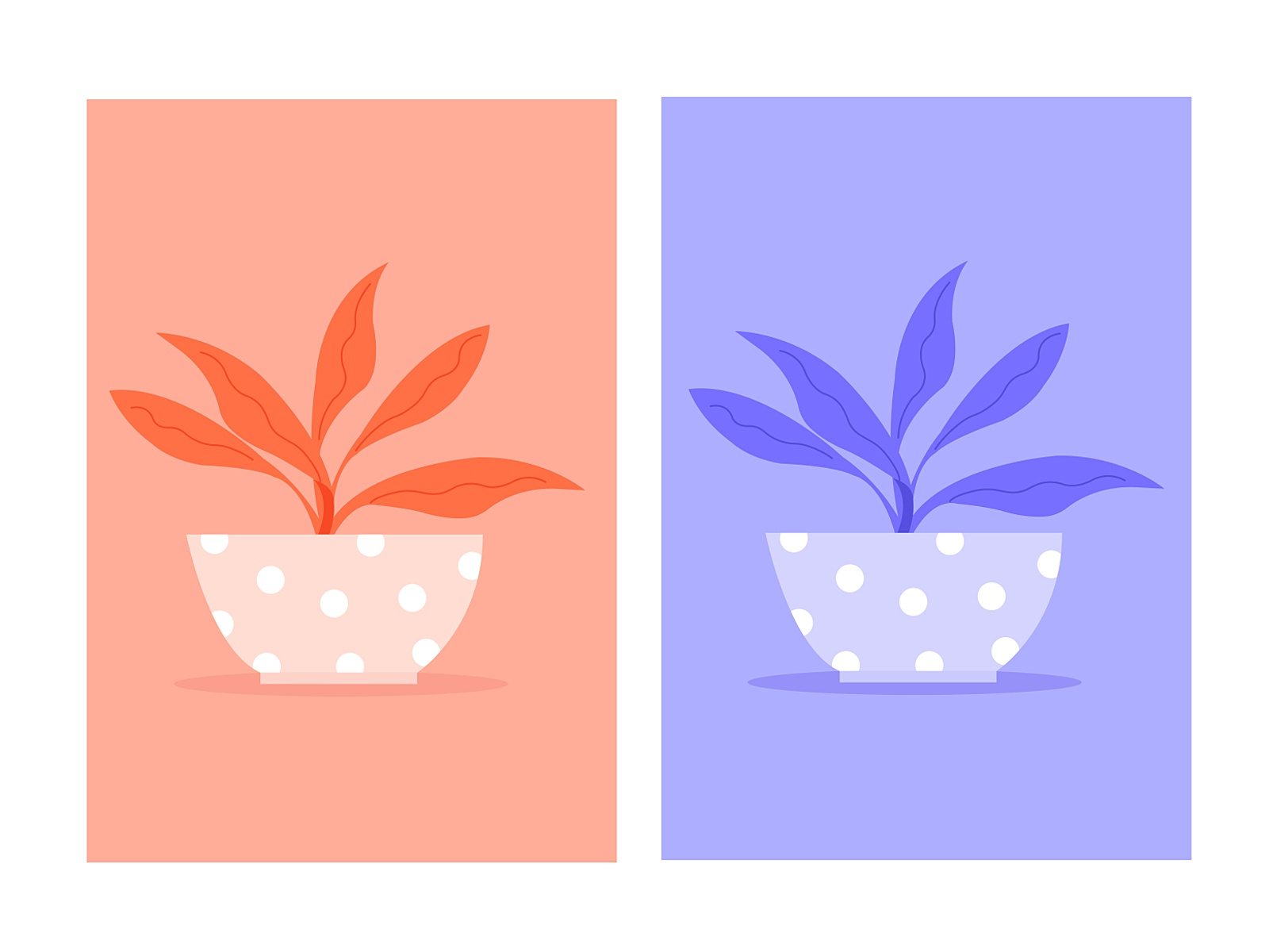 An example of monochromatic color scheme in use in two flower post illustrations