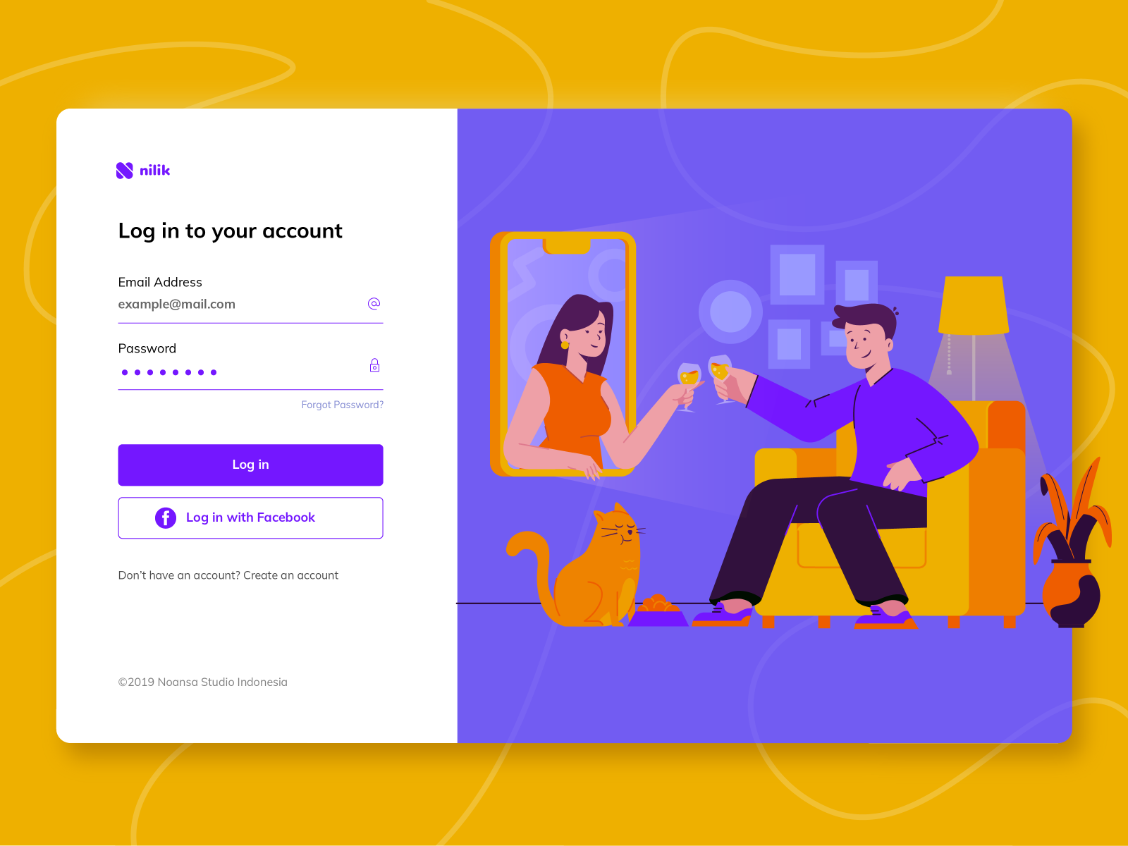 A website using complementary colors (purple and yelllow)