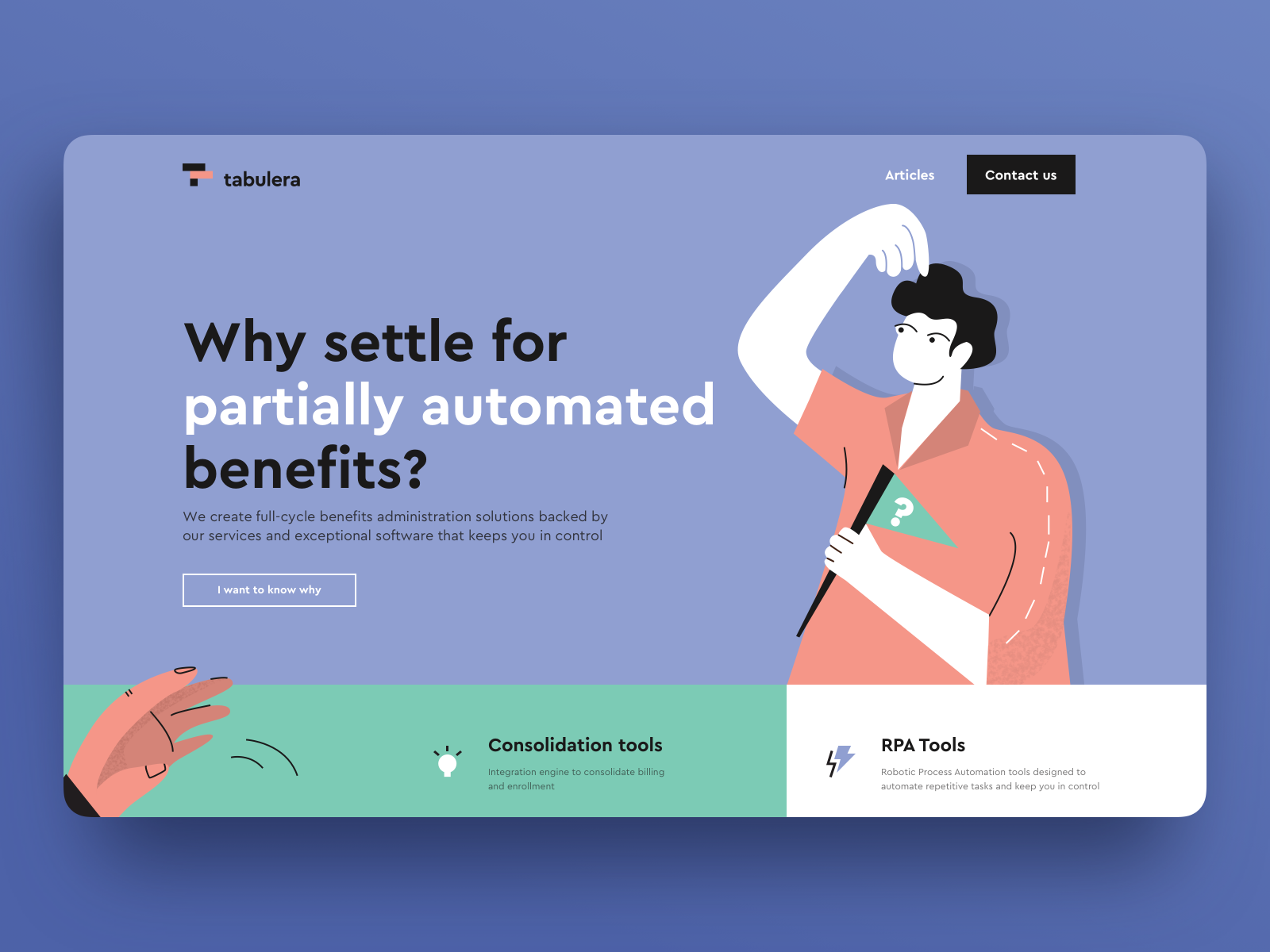 A website showcasing the use of split-complementary colors - blue, yellow and red