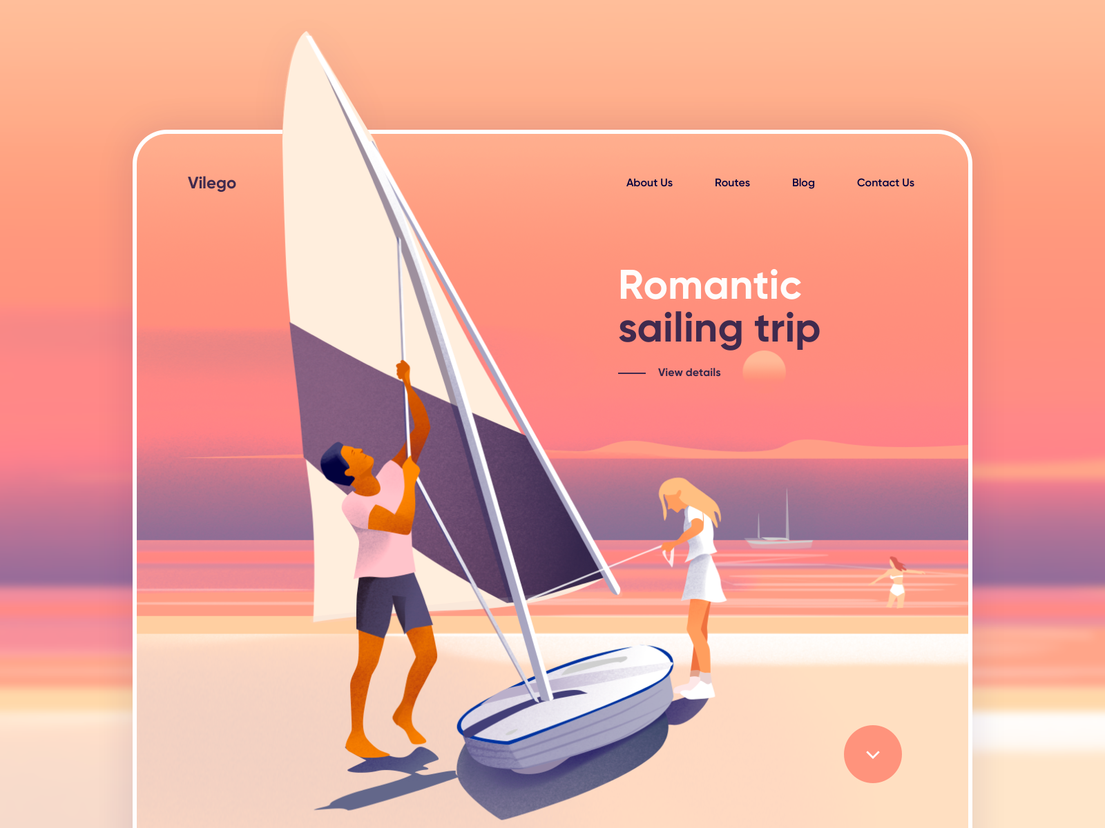 A landing page example showcasing the use of analogous colors. Red, orange and yellow.