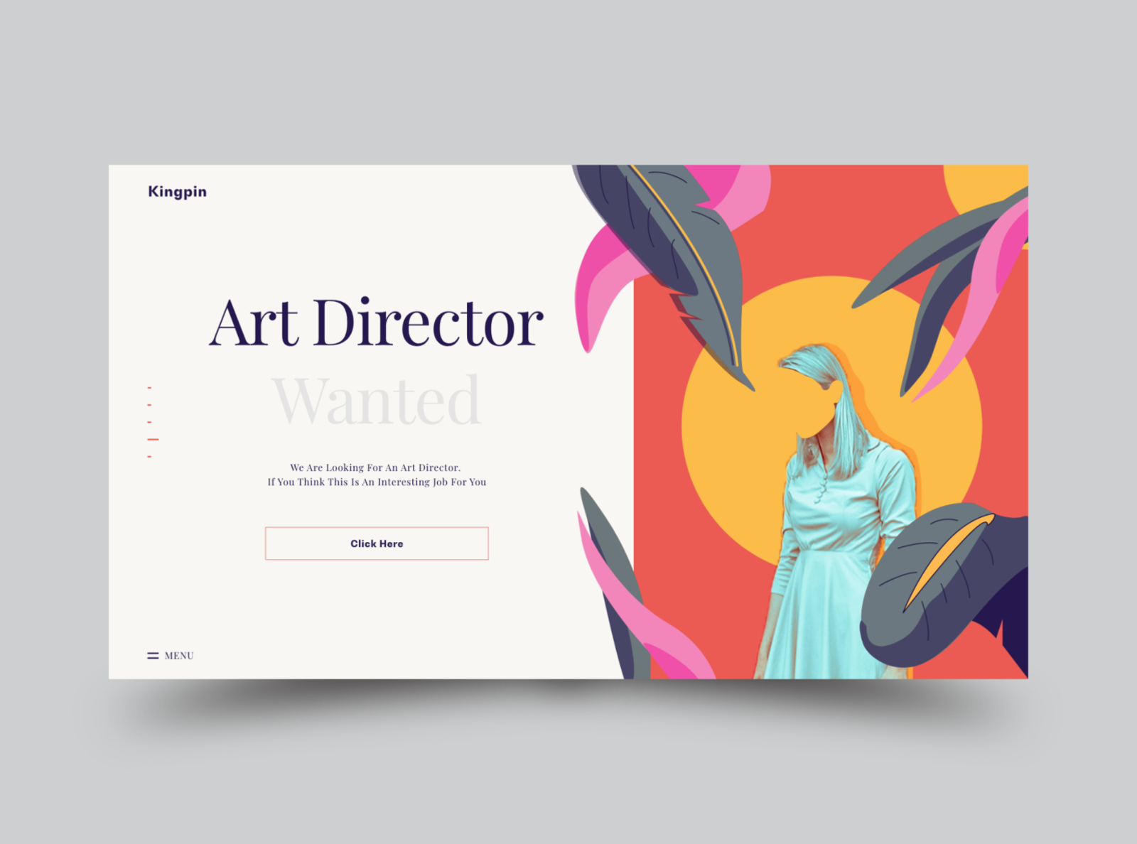 Kingpin menubar vacancies vacancy girl red yellow flowers flower job artdirector kingpin illustration vector website web typography ux ui design