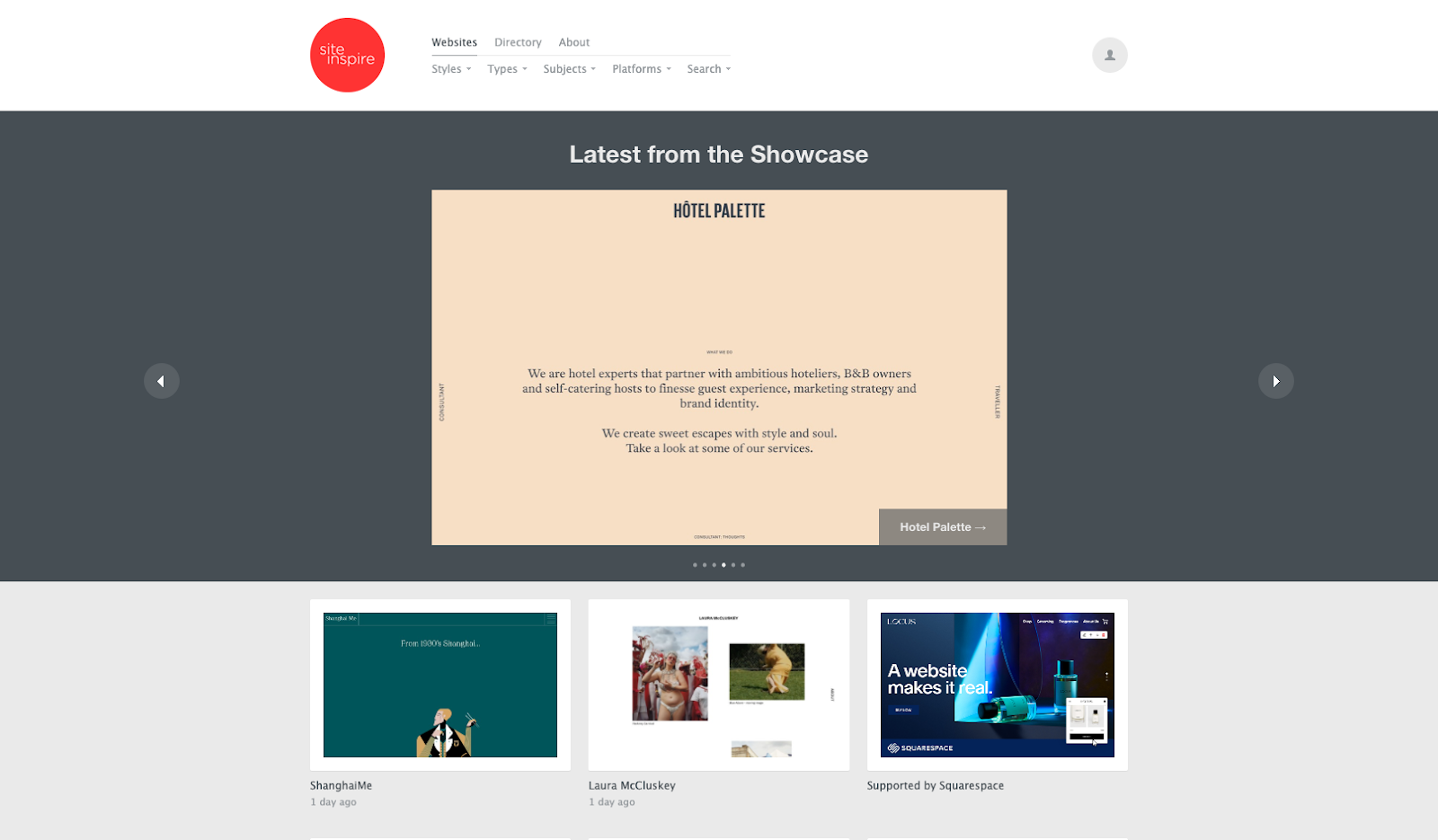 Screenshot of SiteInspire homepage