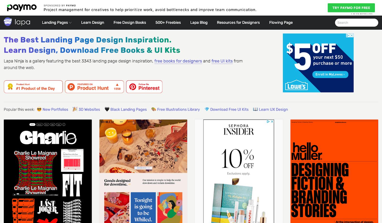 Screenshot of Lapa Ninja homepage