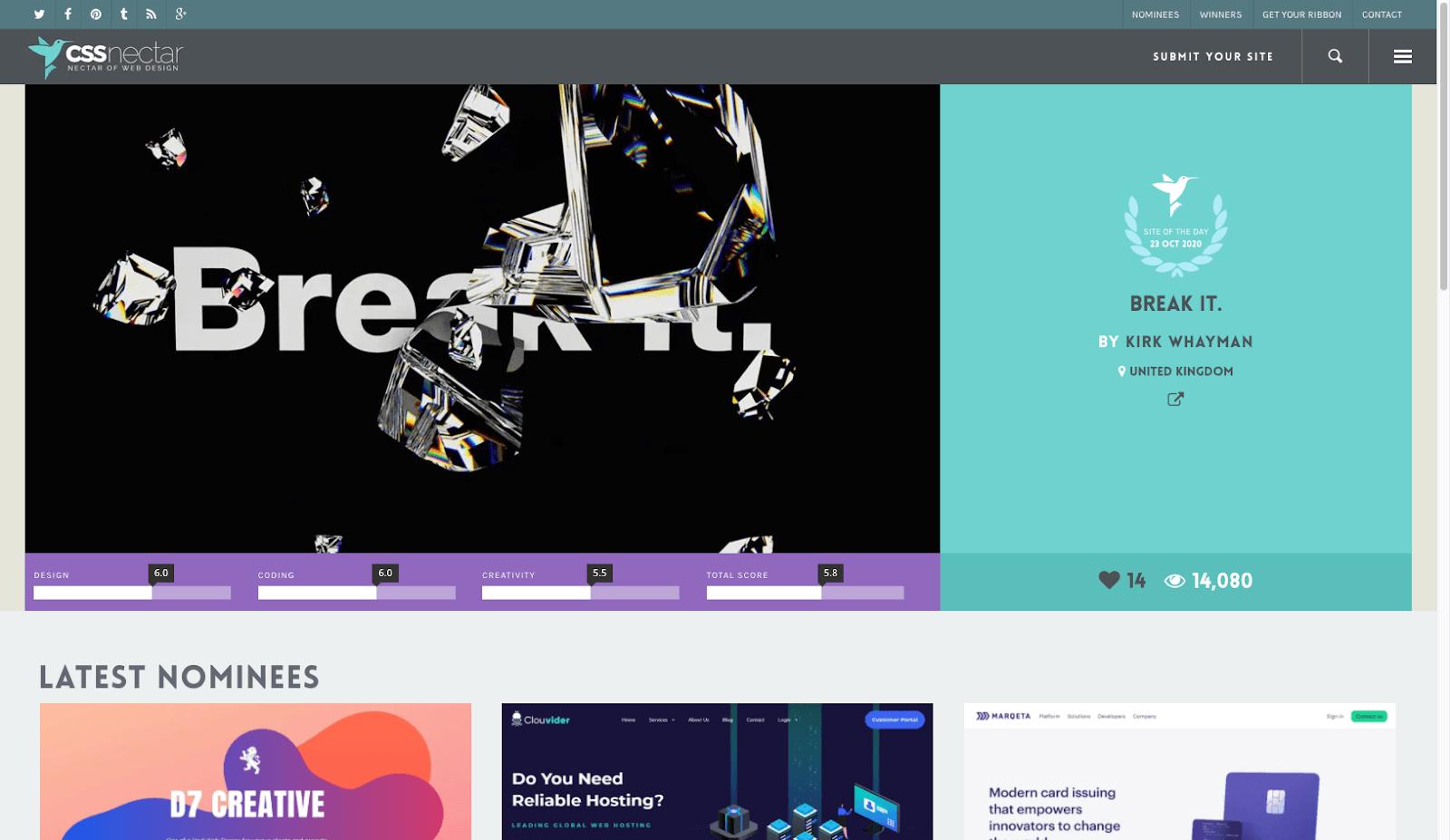 Screenshot of CSS Nectar homepage