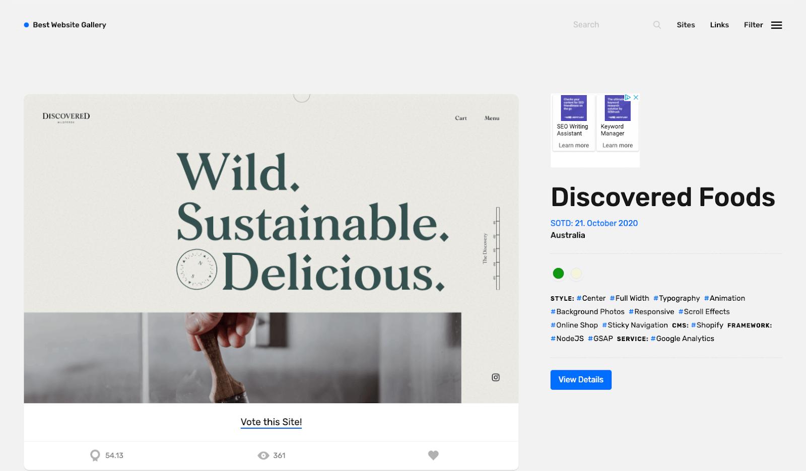 Screenshot of Best Website Gallery homepage