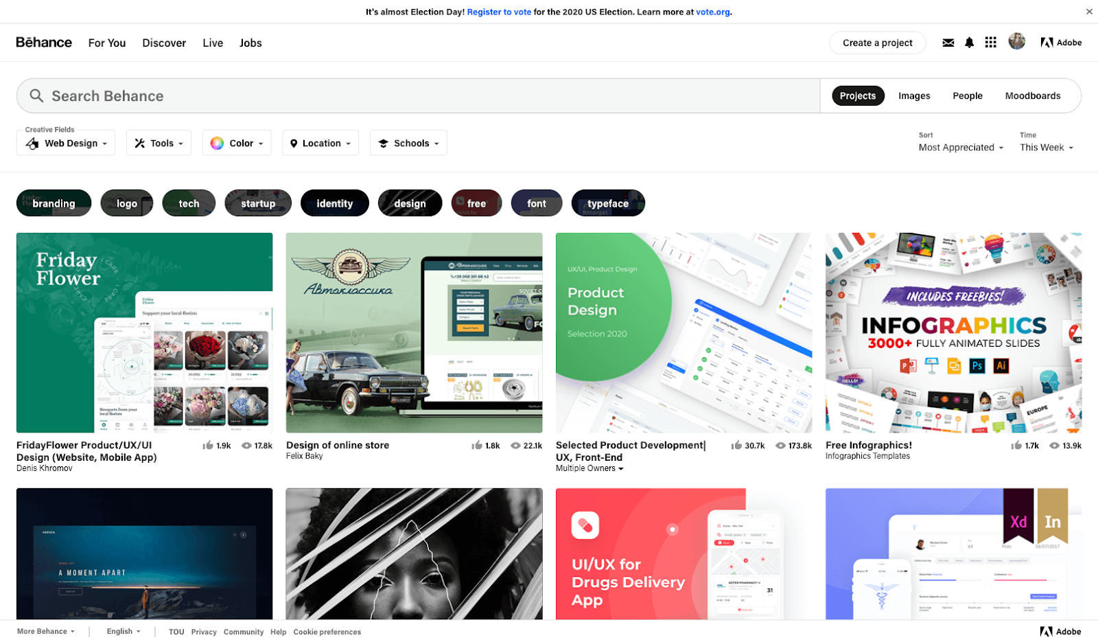 Screenshot of Behance homepage