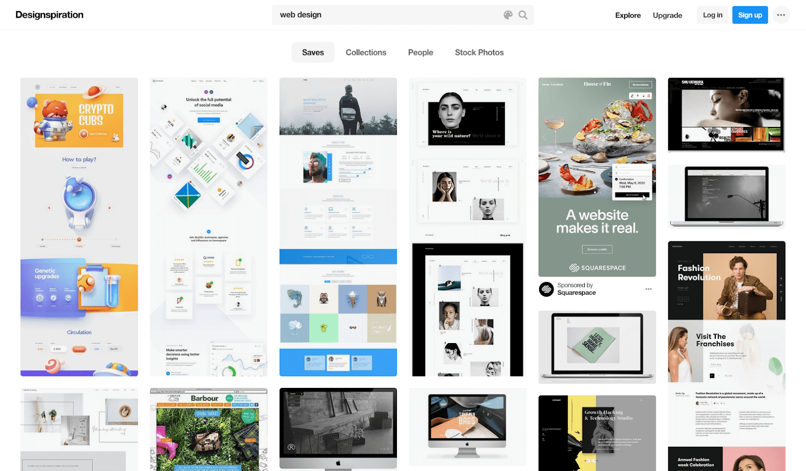 Screenshot of Designspiration homepage