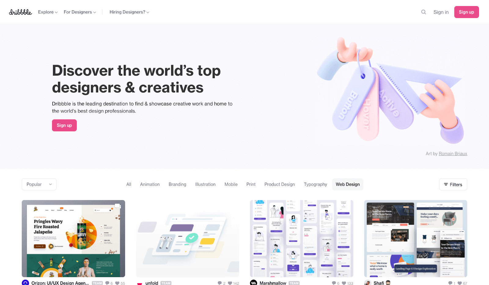 Screenshot of Dribbble homepage
